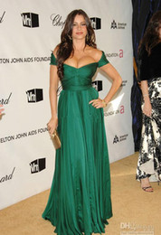 Wholesale Cheap Sofia Vergara Cap Sleeve Long Evening Dresses Chiffon Ruched A Line Elton John Academy Awards