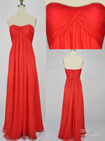 Cheap Actual Picture Custom Made Strapless Red Ruffle Chiffon Floor-length Evening Gown Evening Dress