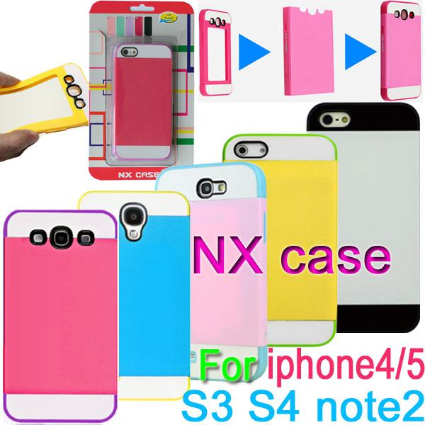 Buy NX CASE hard PC + soft TPU 3in1 Card slot Shell plastic Case Cover samsung galaxy S4 i9500 S3 i9300 note 2 N7100 Apple iphone 4 4S 5