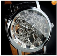 Wholesale 2013 Gold Watch Mens Skeleton Mechanical Fashion Luxury Sport Casual Watch Stainless Leather Band
