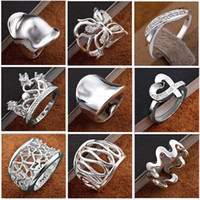 Wholesale 100 brand new silver jewelry charming ladies Crystal finge rings multi style mix order size mix size