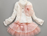 free shipping , 2013 new girls lace 3 pcs set girls lace dre...