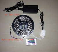 Wholesale 5M FT V SMD RGB Flexible Waterproof Led Strip Light Lamp LEDs For Car House Party Decorate IR Remote Control Power Adapter