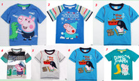 Wholesale Fast shipping Peppa Pig George Pig amp Dinosaur Clothing Cotton Children Boys Short Sleeve T Shirt Cartoon Kids Tees Top