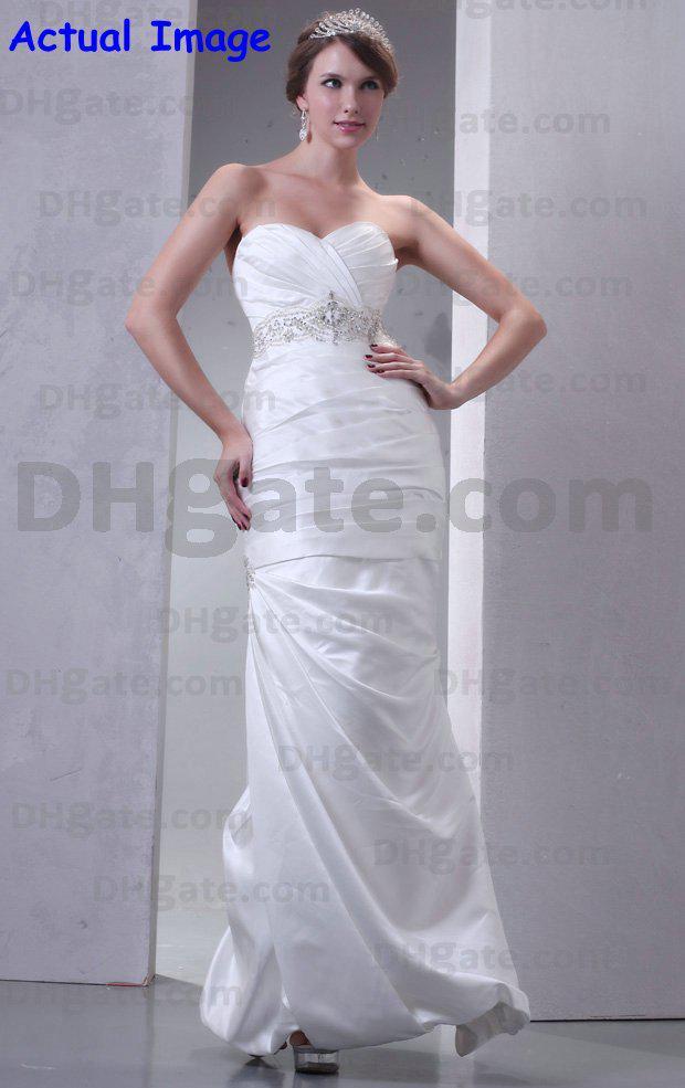 Elegant simple ankle length wedding dresses sheath taffta for Simple ankle length wedding dresses
