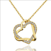 Wholesale Fashion Jewelry K gold plated rhinestone crystal heart pendant necklace Top quality wedding gift