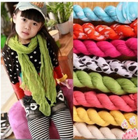 Cotton Blends silk scarf solid color - Autumn female child all match candy color scarf child solid color design long scarf muffler scarf polka dot silk scarf