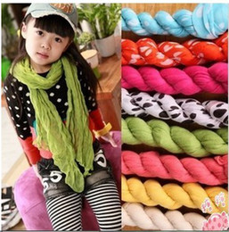 Wholesale 2013 autumn female child all match candy color scarf child solid color design long scarf muffler scarf polka dot silk scarf