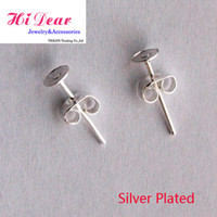 Wholesale Flat Post Ear Studs With Earring Back Stoppers Silver Plated mm Fashion Ear Pins With Ear Post Nut Jewelry Making Findings DIY
