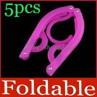 Clothes plastic hanger - 5 Portable Travel Plastic Clothes Cloth Hang Hanger Foldable Fold Hook