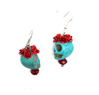 Mexican sugar flowers - Day of the Dead Dia de los Flower Rose Turquoise Sugar Skull Mexico Earrings ER291