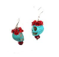 Unisex sugar flowers - Day of the Dead Dia de los Flower Rose Turquoise Sugar Skull Mexico Earrings ER291