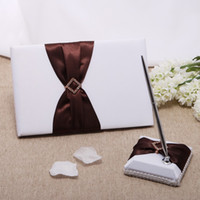 Wholesale Wedding Party Accessories Supplies Compact Personalized QDTE1060 brown belt diamond drill design Wedding Guestbook Pen