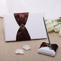 Wedding Party Supplies Accesorios compacto QDTE1060 personalizada cinturón marrón de perforación de diamante del diseño de la boda de la pluma Libro de visitas