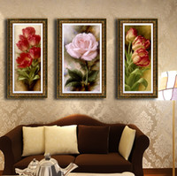 Abstract   Modern pure hand painting oil painting entranceway decoration painting sets rose spt-0024
