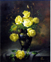 Cheap Classical flowers entrance decorative painting pure hand painting oil painting yellow rose gd-0012