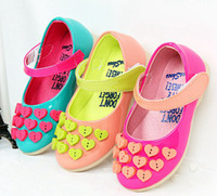 Wholesale NEW autumn kid shoes Princess girls Pearl Heart Sharped candy color Children Flats Elegant Galoshoes Dress Shoes kids shoes cheap pairs