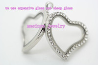 Wholesale 6pcs genuine clear czech crrystal curved heart glass floating charm locket