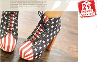 Wholesale 2012 new Europe and the United States the flag of the United States British female high heeled wooden bottom ankle boots