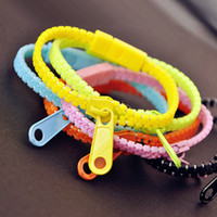 Wholesale 50PCS Novel Item Fluorescence Zipper Charm Bracelet Bangle Wristband Jewelry Mix Colours Bracelets