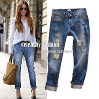Wholesale Celebrity Style Rolled Up Ripped Boyfriend Jeans low on the hip loose in the leg Dark and Light Blue size option