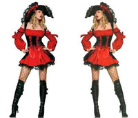 Wholesale Greatly Loses Money The Big Markdown Sale Sexy Holloween Cosplay Pirate Costume Red Ruffled Dress with Matching Corset Fashion Cap and Thong