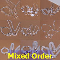 Wholesale Mixed Order Sterling Silver Plated Mutli Styles Round Ring Charm Charms Necklace Bracelet Jewerly Set SET130