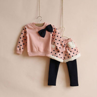 Wholesale Autumn Winter Baby Girl s PC Suits Clothing Kids Long Sleeve Polka Dot Big Bow T Shirt Cute Skirt Pants Leggings Children Plus Velvet Sets