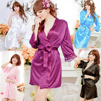 Wholesale Short Sexy Women Grown Sleep Silk Lingerie Sleepwear Nightdress Robes Pajamas