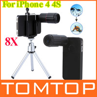 Wholesale 8X Magnification Mobile Phone zoom Telescope Magnifier Optical Camera Lens with Tripod Holder hard back Case for iPhone S PA1444B