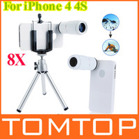 For Apple iPhone   8X Zoom Optical Lens Phone Telescope Camera Lens Magnifier with Tripod + Holder + White hard back Case for iPhone 4 4S PA1444W