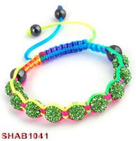 Wholesale Shamballa handmade bracelet crystal disco clay ball multy color mix cheap