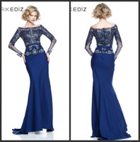 Wholesale 2014 New Arrival Good Desige Elegant Mermaid Sweep Train Long Sleeves Exquisite Appliques Blue Chiffon Evening Dresses Party Dresses