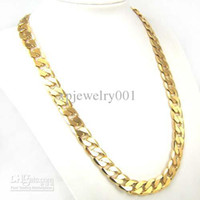 Alloy 24k solid gold - Whoelsale K YELLOW GOLD FILLED MEN S NECKLACE quot Solid CURB CHAINS GF JEWELRY cm cm g