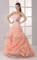 Garden christmas wedding dresses - Christmas Strapless Orange Color Accented Bridal Gowns Pleat Rose Design Pattern Prom Gowns Wedding Dresses