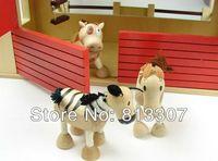 Wholesale farm organic maple animal Australia Anamalz the doll room wooden house with six animals dolls
