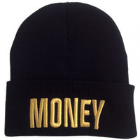 Wholesale 2013 new fashion hot sale money gold letter black beanie for men and women sports hip pop mens caps womens winter hat