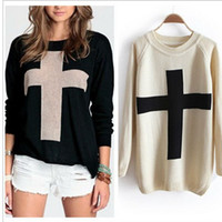 Wholesale New Fashion Womens Cross Pattern Knit Sweater Outerwear Crew Pullover Tops Sweaters Color S M