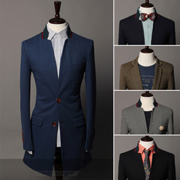 Wholesale New Fashion Men s Dress Suit Turn Down Collar Long Suit Two Buttons Blazer For Wedding AW0725