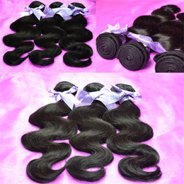 Wholesale Price Unprocessed Natural Black In Vogue Human Hair Weave Brazilian Body Wave Virgin Hair Extension Bundles Mixed Length quot quot