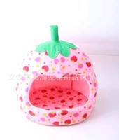 Wholesale Soft Hot pink Lovely Strawberry Winter Pet Bed Dog House Warm Kennel L178