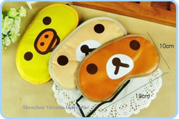 Wholesale 20PCS Kawaii SAN X Rilakkuma Bear Sleep Mask Sleeping Eyeshade Blinkers Sleep Blindfold Eyepatch Cover Soft Touch Flexible