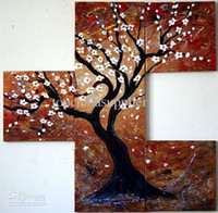 More Panel Oil Painting Abstract Art Modern Abstract Blooming Tree Painting Multi Panel Panel Museum Quality Oil Painting Pentaptych Popular Wall Decor Sale On Canvas