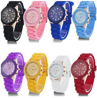 Wholesale Colors New Shadow Style Geneva Watch Rubber Candy Jelly Fashion Men Women Silicone Quartz Wrist Watches Unisex