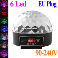 Wholesale 6 Channel DMX512 Control Digital LED RGB Crystal Magic Ball Effect Light DMX Disco DJ Stage Lighting V EU plug