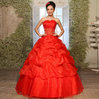 red ball gown wedding dress - Bride Wedding Dresses Beatiful Strapless Big Red Bridal Sleeveless Elegant Sweet Princess to Floor Wrapped Chest Ball Gown Wedding Dresses