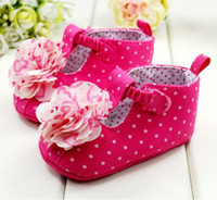 Wholesale Big Flower dot red infant girls first walker shoes toddler cotton shoe soft soled baby shoes pair QS346