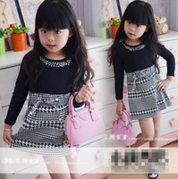 Wholesale Houndstooth Children Dress Baby Girls Black Pearl Long Sleeves Dresses Kids Girls Montage Bow Belt Plaid Skirt Korean Princess Dress