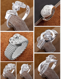 Wholesale Hot sale silver jewelry Fashion ladies Silver amp crystal rings mult style amp mix size