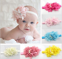 Wholesale 8 colors New Style beautiful chiffon pearl big flower headband girl baby hair band headwear QS348